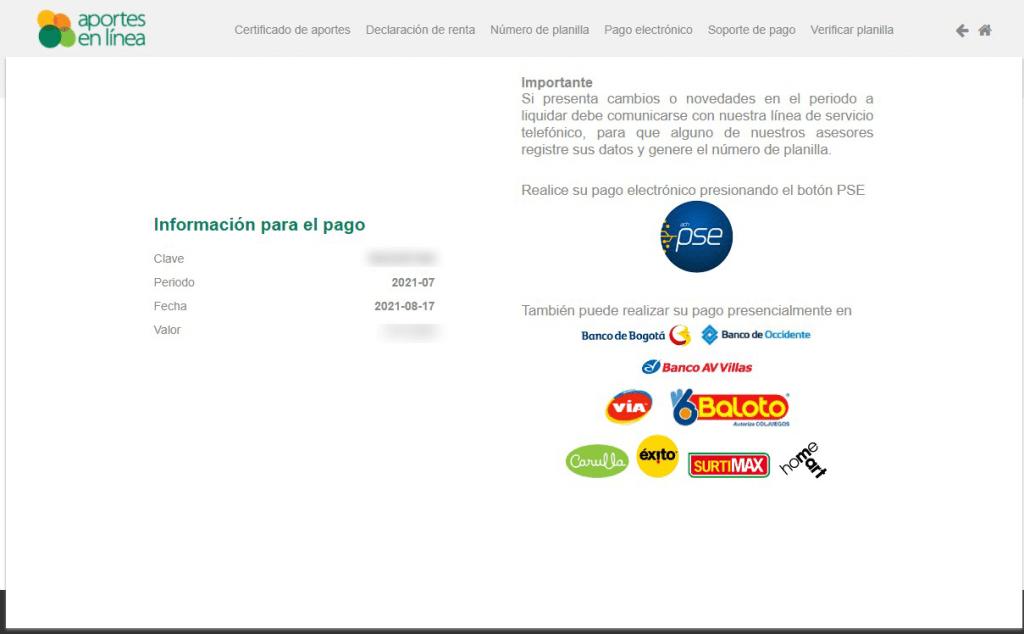 formulario pagos aportes en linea