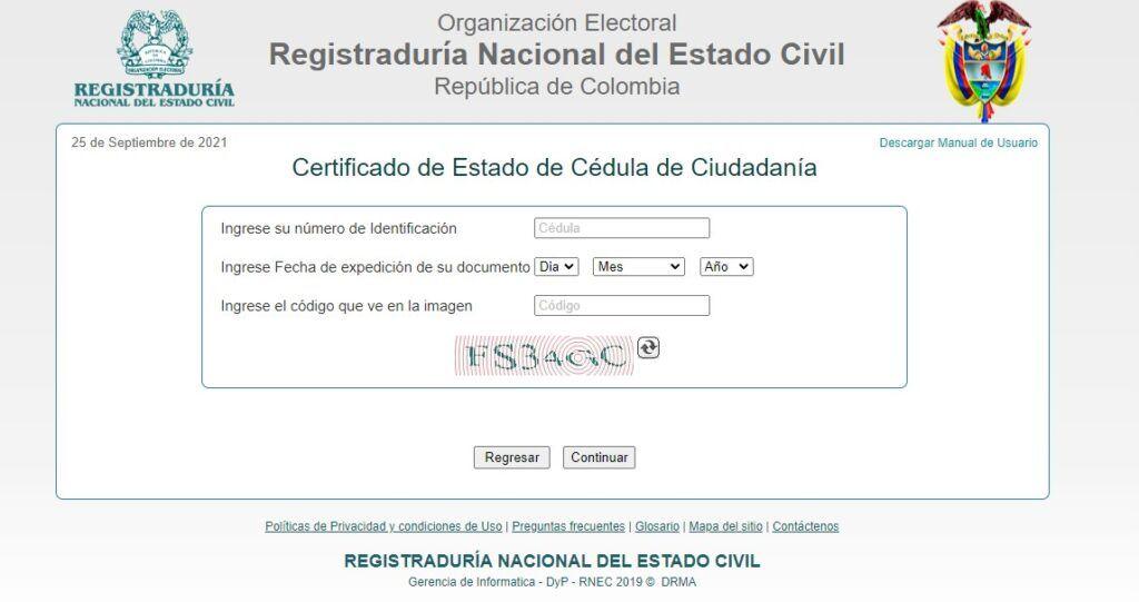 formulario expedición certificado cedula